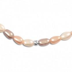 Collier argent perles de culture multicolore