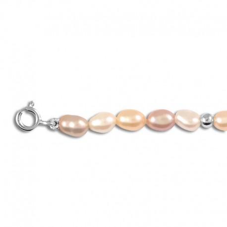 Bracelet argent perles de culture multicolore