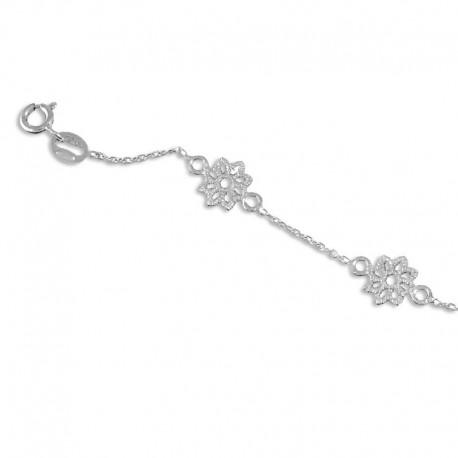 Bracelet argent fleurs