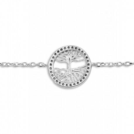 Bracelet argent arbre de vie oxydes