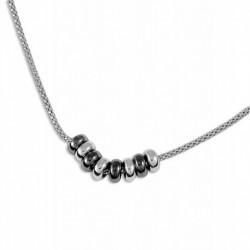 Collier argent anneaux bicolores