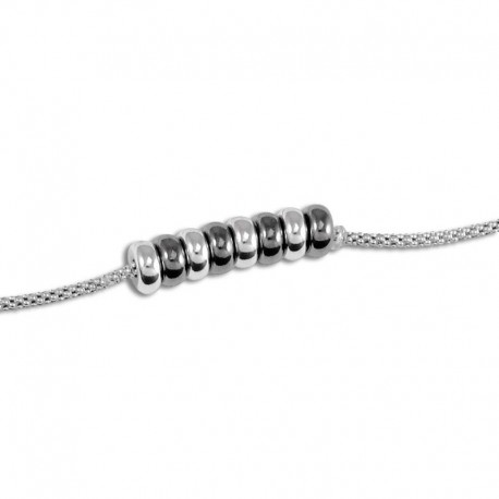 Bracelet argent anneaux bicolores