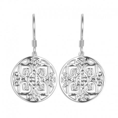 Boucles d'oreilles argent motif arabesque
