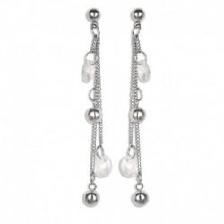Boucles d'oreilles acier longues boules cristal