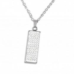 Collier acier rectangle cristal