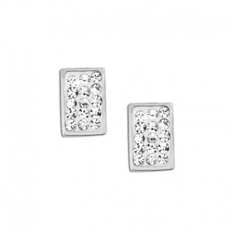 Boucles d'oreilles acier rectangle cristal