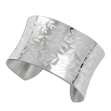 Bracelet acier jonc feuilles