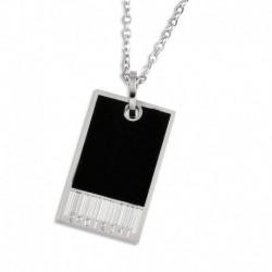 Pendentif acier plaque noir et motif avec chaîne