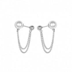 Boucles d'oreilles acier 2 boules + chaîne