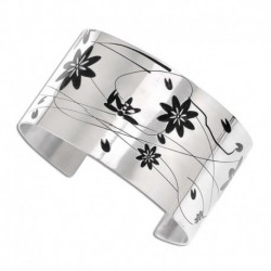 Bracelet manchette acier fleurs noires