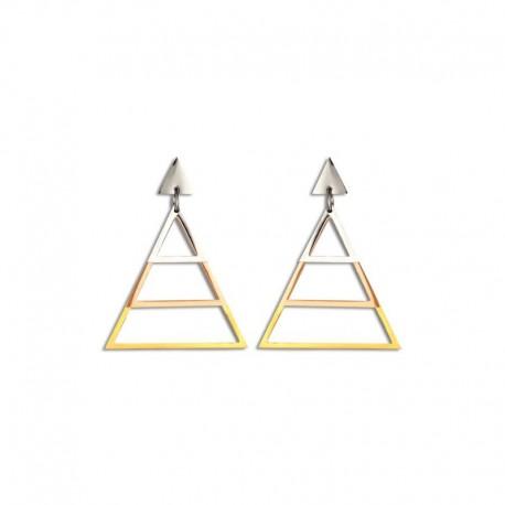 Boucles d'oreilles acier triangle tricolore