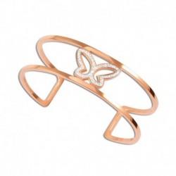 Bracelet jonc acier cristal papillon rose
