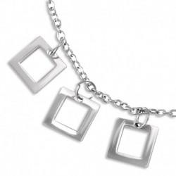 Collier acier motifs carrés