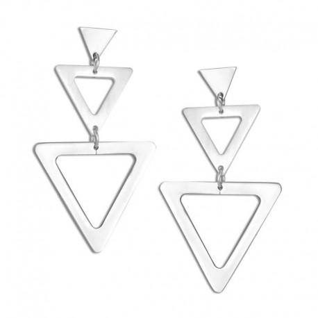 Boucles d'oreilles acier triangles
