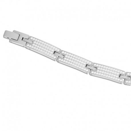 Bracelet acier points blancs