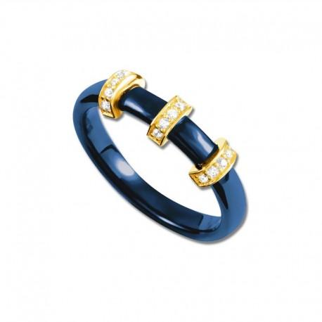 Bague plaqué or céramique bleue et oxydes