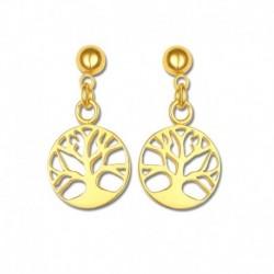 Boucles d'oreilles plaqué or arbre de vie