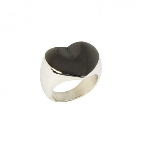 Bague acier coeur laqué noir