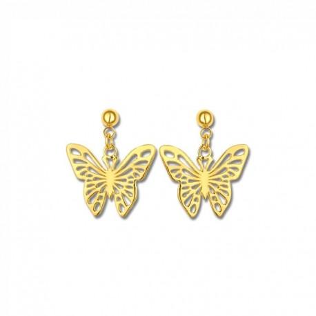 Boucles d'oreilles plaqué or papillons