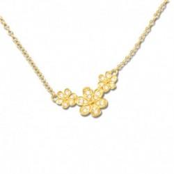 Collier plaqué or fleurs oxydes