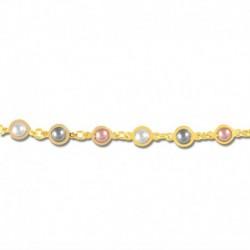 Bracelet plaqué or perles de synthèse multicolore