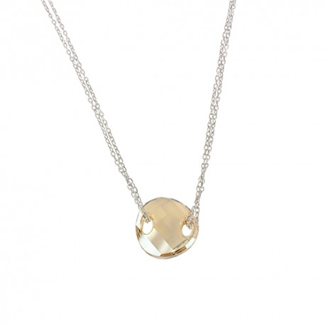 Collier argent cristal champagne