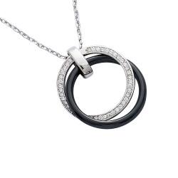Collier argent avec pendentif en céramique noire et oxydes
