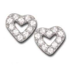 Boucles d'oreilles cœurs argent et oxydes