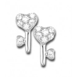 Boucles d'oreilles fleurs argent et oxydes