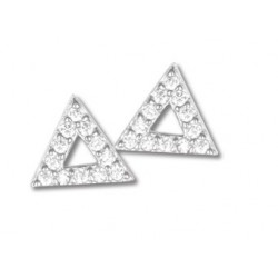 Boucles d'oreilles triangle argent et oxydes