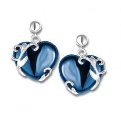Boucles d'oreilles argent cœurs céramique bleue