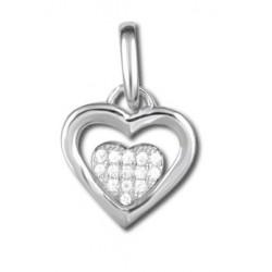 Pendentif cœur argent cœur en oxydes
