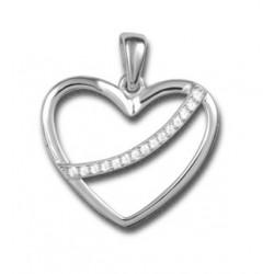 Pendentif cœur écharpe argent et oxydes