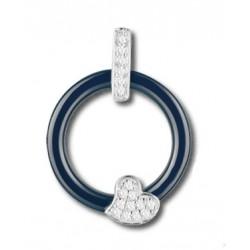 Pendentif argent et oxydes céramique bleue