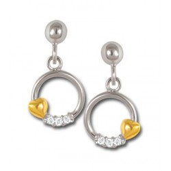 Boucles d'oreilles plaqué or et oxydes bicolores