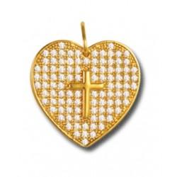 Pendentif plaqué or cœur et oxydes