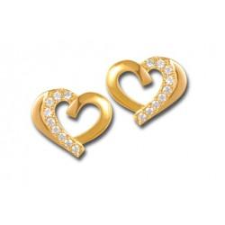 Boucles d'oreilles cœurs plaqué or et oxydes