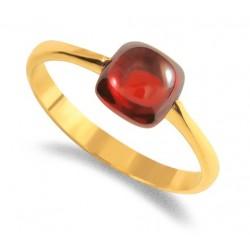 Bague pierre rouge plaqué or et oxydes