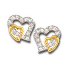 Boucles d' oreilles cœur plaqué or sur cœur en oxydes