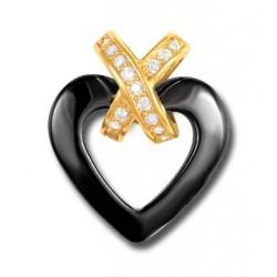 Pendentif cœur noir plaqué or céramique et oxydes