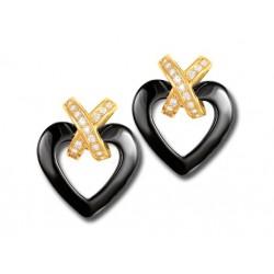 Boucles d'oreilles cœur noir céramique et oxydes