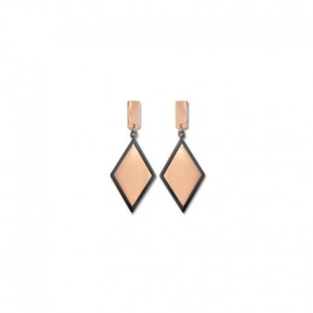 Boucles d'oreilles bicolores noires et rosées