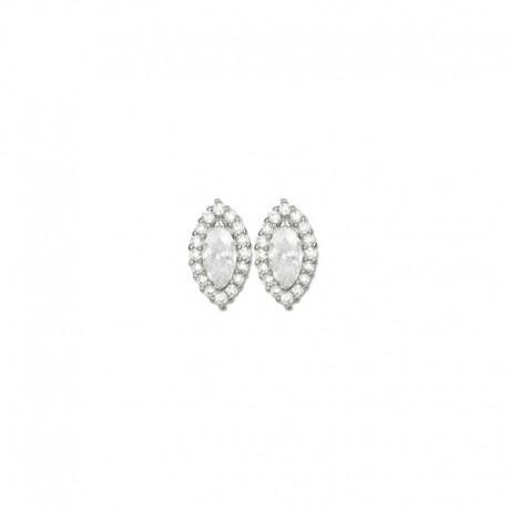 Boucles d'oreilles ovales argent et oxydes