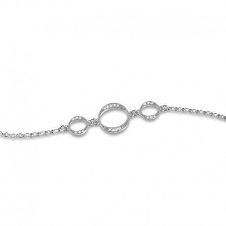 Bracelet argent triple cercles et oxydes