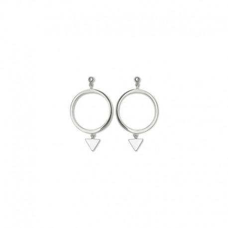 Boucles d'oreilles argent cercle et triangle