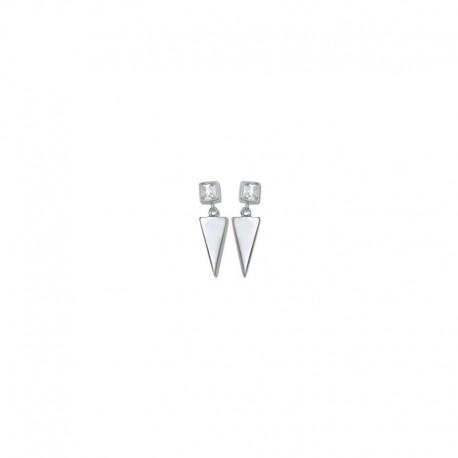 Boucles d'oreilles argent triangle et oxyde