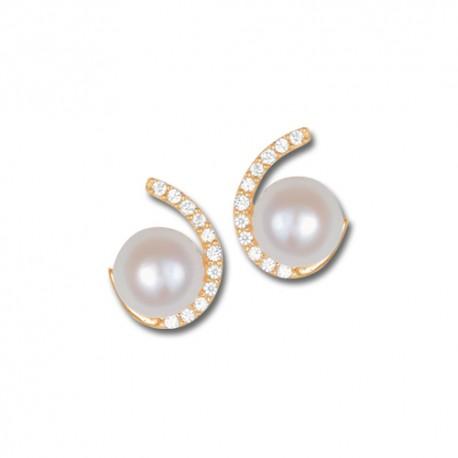 Boucles d'oreilles or 9 carats perles de cultures et oxydes
