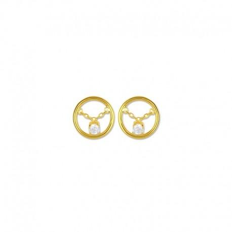 Boucles d'oreilles cercle plaqué or et oxyde