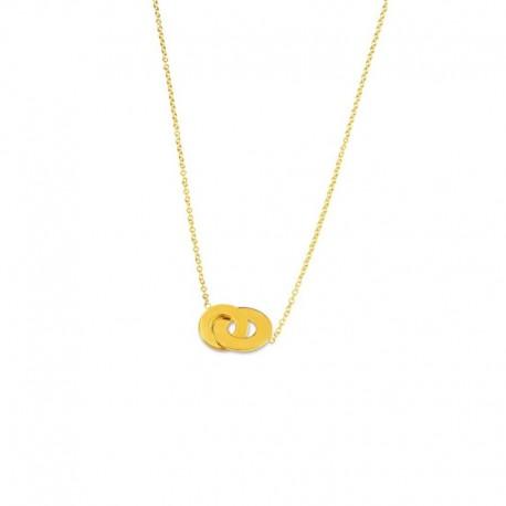 Collier plaqué or double anneaux