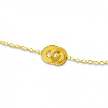 Bracelet plaqué or double anneaux
